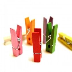 Renkli Mini Ahşap Mandallar - Thumbnail