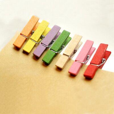 - Renkli Mini Ahşap Mandallar