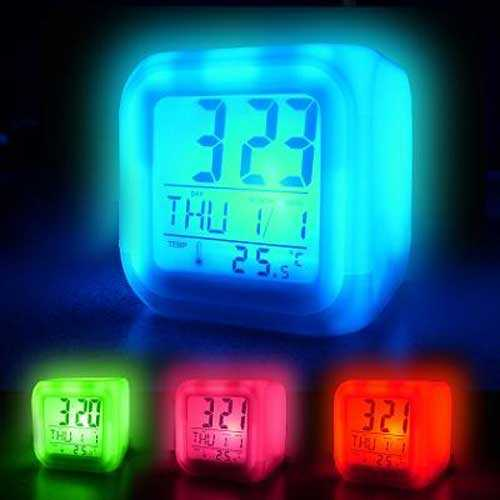 Renkli LED Işıklı Alarm Saat