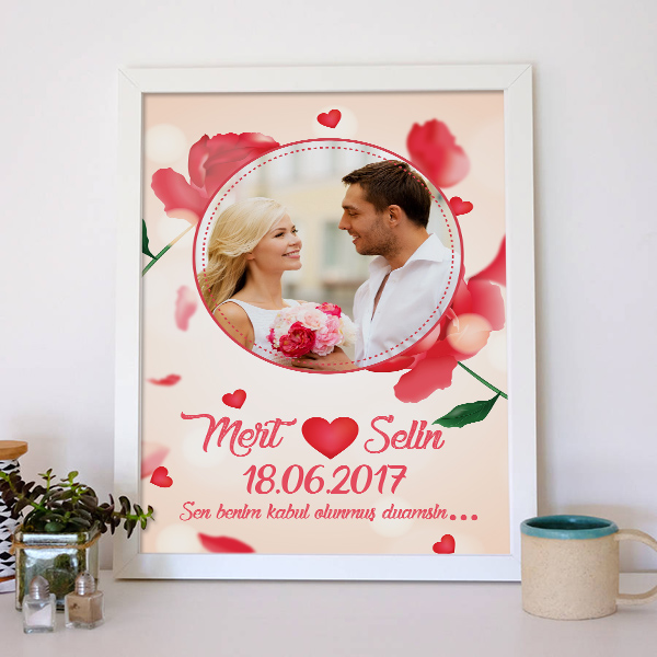 Resimli Kırmızı Güllerle Aşk Posteri