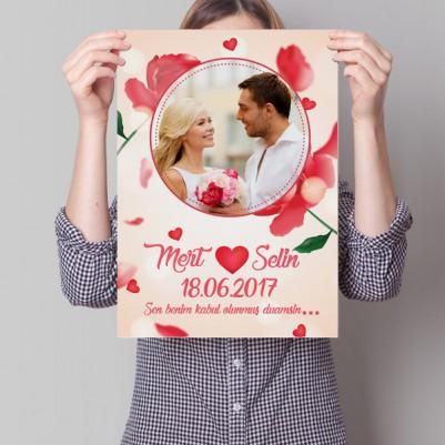 - Resimli Kırmızı Güllerle Aşk Posteri