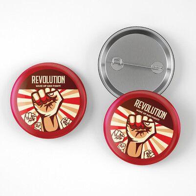 Revolution Tasarımlı Buton Rozet - Thumbnail