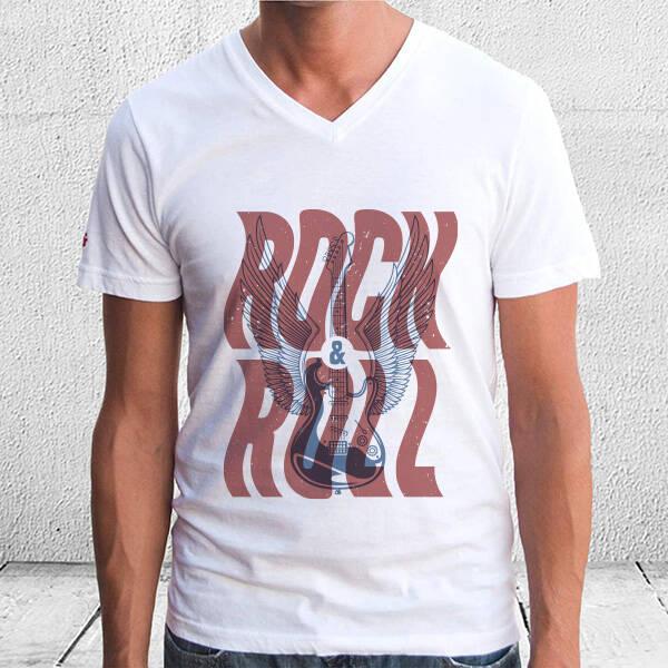 Rock and Roll Temalı Baskılı Tişört