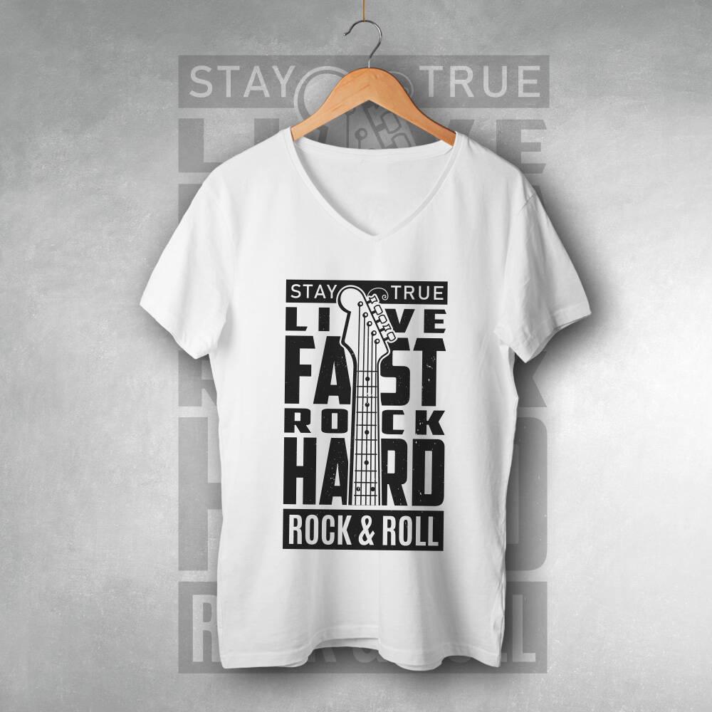 Rock & Roll Tasarımlı Unisex Tişört