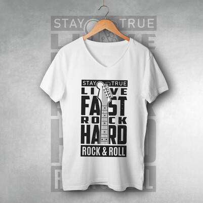 - Rock & Roll Tasarımlı Unisex Tişört