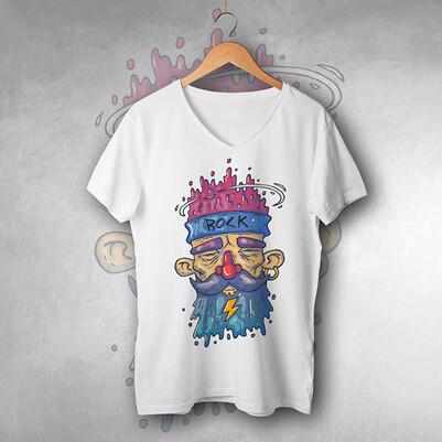 - Rock Yıldızı Tasarımlı Tişört
