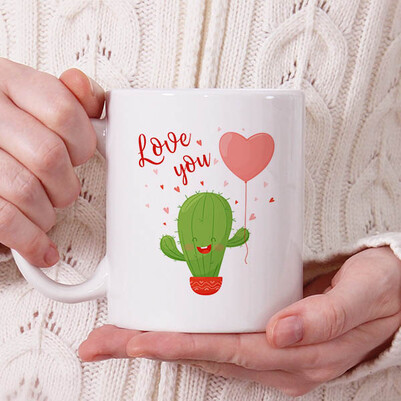 - Romantic Cactus Tasarım Kupa Bardak