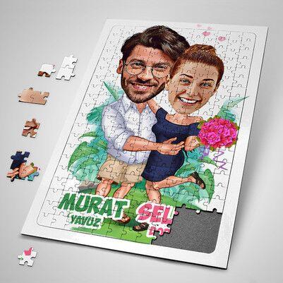 - Romantik Aşıklar Karikatürlü Puzzle