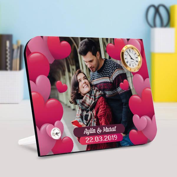 Romantik Aşıklar Saatli Masa Çerçevesi