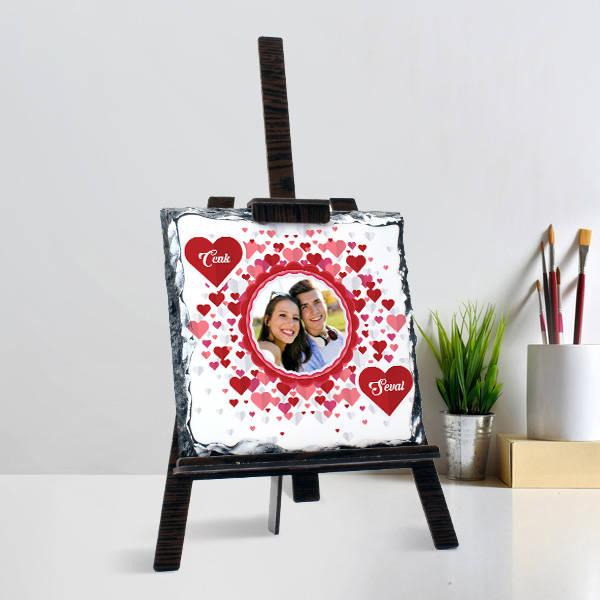 Romantik Aşıklar Şövalye Ayaklı Taş Tablo