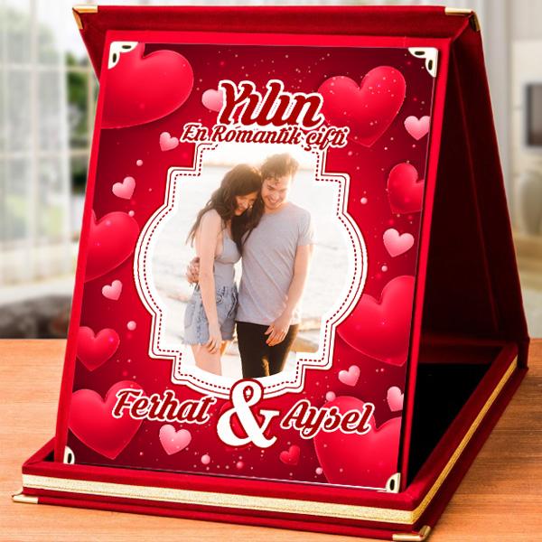 Romantik Aşıklara Özel Resimli Plaket