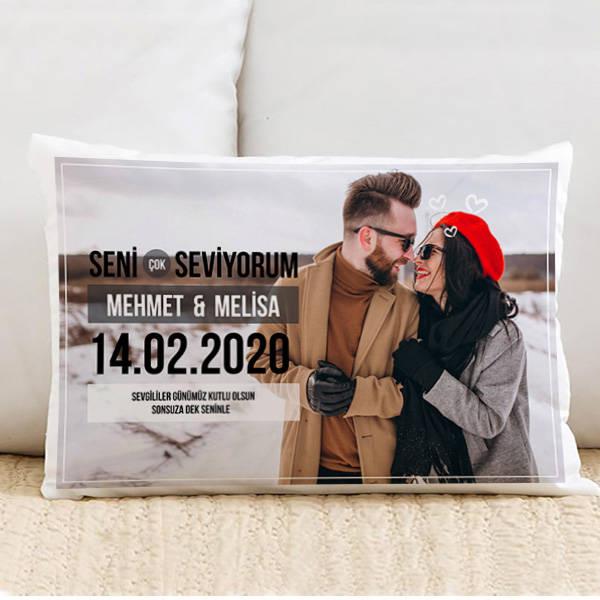 Romantik Aşkım Fotoğraflı Sevgili Yastığı