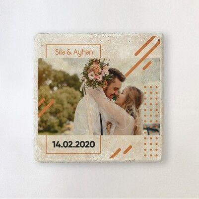 - Romantik Aşkım Fotoğraflı Taş Bardak Altlığı