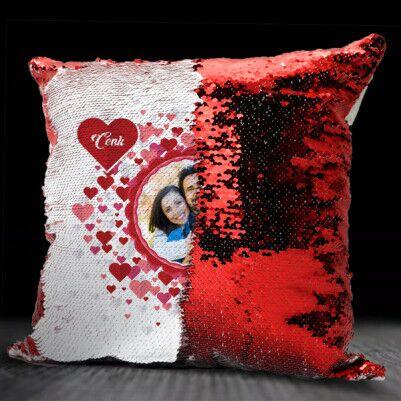 Romantik Fotoğraf Baskılı Sihirli Yastık - Thumbnail
