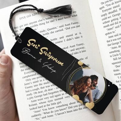 - Romantik Fotoğraflı Kitap Ayracı