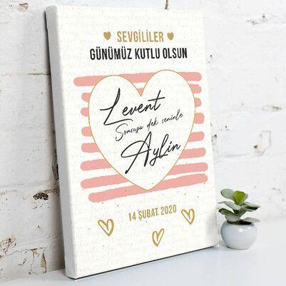 - Romantik Sevgililer Günü Hediyesi Kanvas Tablo