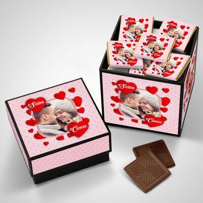 Romantik Sevgililer Özel Çikolata Kutusu - Thumbnail