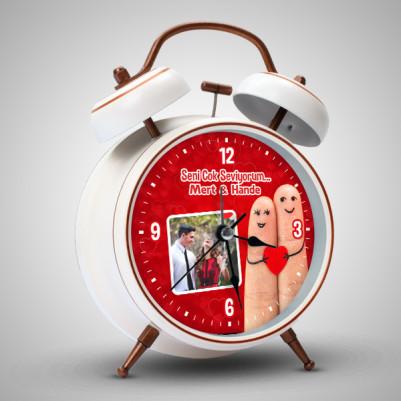 Romantik Sevgililer Resimli Çalar Saat - Thumbnail