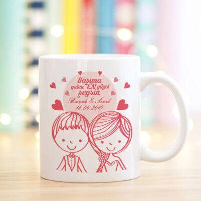 Romantik Tasarım Sevgili Kupa Bardağı - Thumbnail