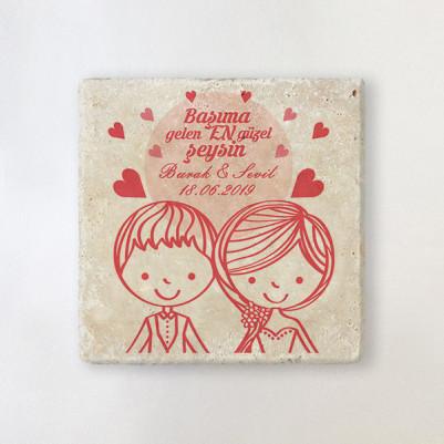 - Romantik Tasarım Taş Bardak Altlığı