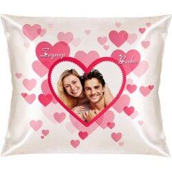 Romantik Pembe Kalpler Kare Yastık - Thumbnail