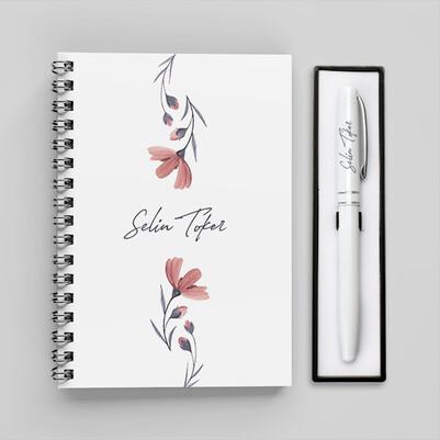 - Sade Çiçek Desenli Defter ve Kalem Seti