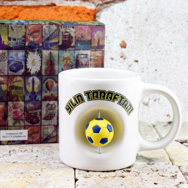 Sarı Lacivert Top İkonlu Kupa Bardak