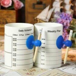 Schedule Mug - Silinebilir Notlu Kupa Bardak - Thumbnail