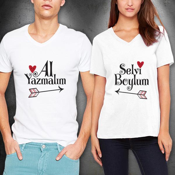 Selvi Boylum Al Yazmalım Sevgili Tişörtleri