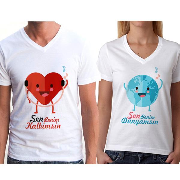 Sen Benim Dünyamsın Çift Tişörtleri