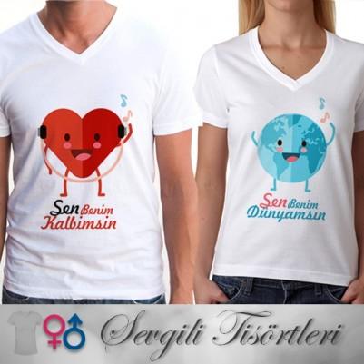 Sen Benim Dünyamsın Çift Tişörtleri - Thumbnail