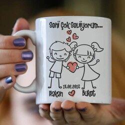 Seni Çok Seviyorum Sevgilim Kupa Bardağı - Thumbnail