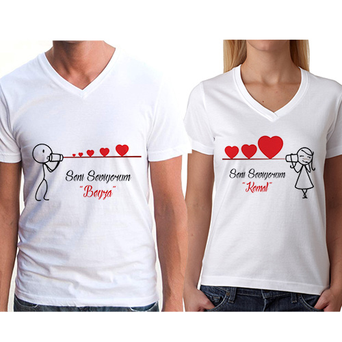 Seni Seviyorum Çöp Adam Sevgili Tişörtleri