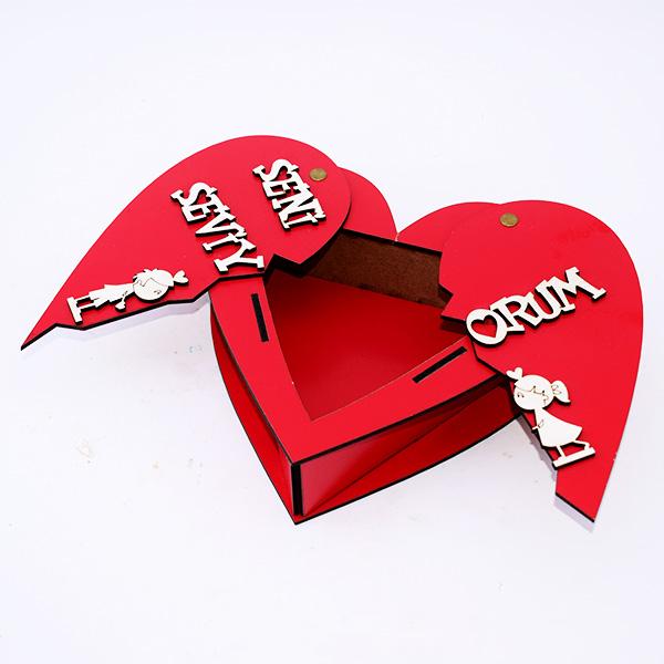 Seni Seviyorum Mesajlı Açılır Kalp Ahşap Kutu