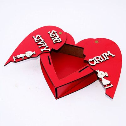 Seni Seviyorum Mesajlı Açılır Kalp Ahşap Kutu - Thumbnail
