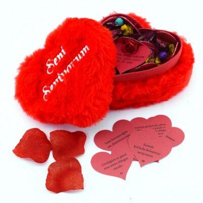 - Seni Seviyorum Peluş Kalp Kutuda Aşk Mesajları