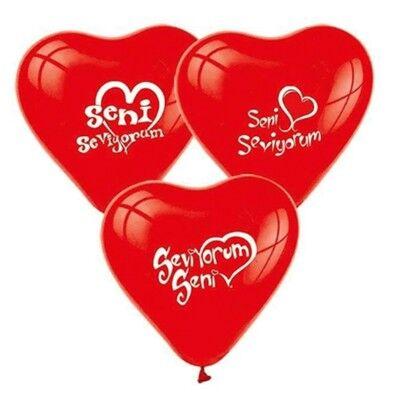 Seni Seviyorum Yazılı 10'lu Kalp Balon - Thumbnail