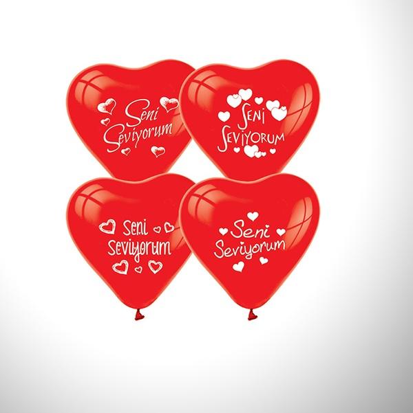 Seni Seviyorum Yazılı 10'lu Kalp Balon