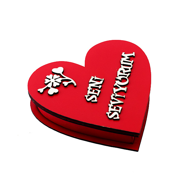 Seni Seviyorum Yazılı Ahşap Kalp Kutu