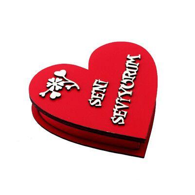 Seni Seviyorum Yazılı Ahşap Kalp Kutu - Thumbnail