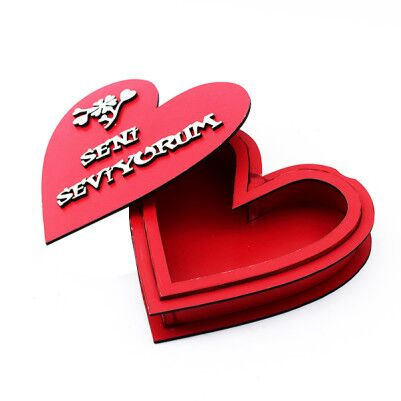 - Seni Seviyorum Yazılı Ahşap Kalp Kutu