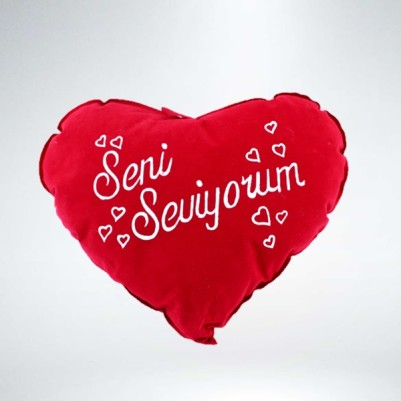 - Seni Seviyorum Yazılı Kalp Yastık 30 cm.