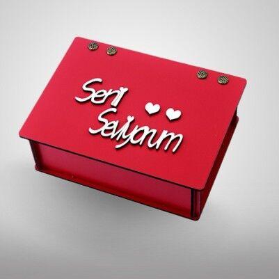 - Seni Seviyorum Yazılı Kare Ahşap Kutu