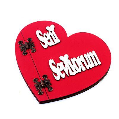 - Seni Seviyorum Yazılı Kırmızı Kalp Defter