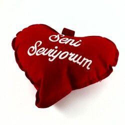 Seni Seviyorum Yazılı Mini Kalp Yastık - Thumbnail