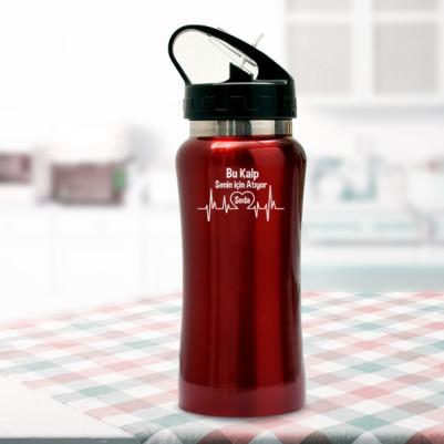 Senin İçin Atan Kalbim Kırmızı Matara - Thumbnail
