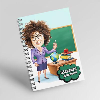 Sevgili Öğretmenim Karikatürlü Defter - Thumbnail