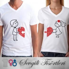 Sevgili Tişörtleri - 2'li Birleşen Kalpler T-Shirt