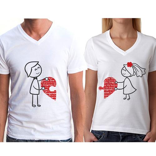 Sevgili Tişörtleri - 2li Birleşen Kalpler T-Shirt