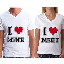 Sevgili Tişörtleri I Love You - Thumbnail